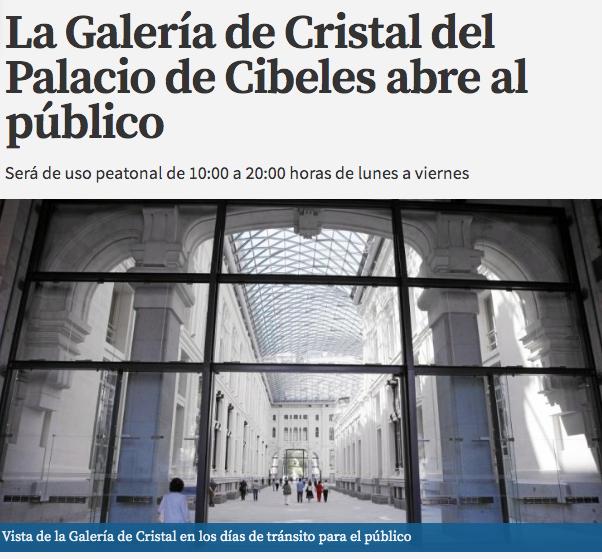 Galería de Cristal del Palacio de Cibeles de Madrid